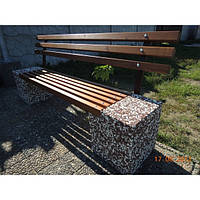 Скамейка «Парковая» со спинкой Мрамор серый