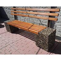 Скамейка «Парковая» со спинкой Мрамор кремовый