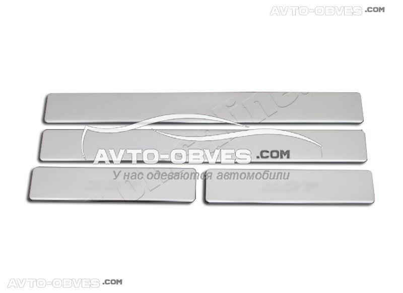 Накладки на боковые пороги Peugeot 308 (2007-2013) - нержавейка