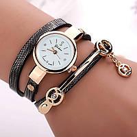 Женские часы-браслет на длинном ремешке (черные)
