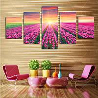 Модульные картины купить Тюльпанный закат