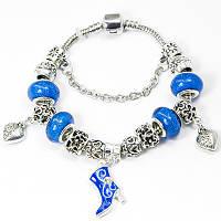 Браслет Пандора из сплава, С бусинами из латуни и лэмпворк, Цвет: Синий, Размер: 20см, (УТ100006452)