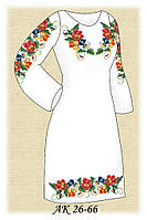 Заготовка женского платья для вышивания АК 26-66 Цветные Анютины Глазки