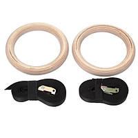 Кольца гимнастические для Кроссфита  (ленты-нейлон l-4,5м, кольцо-дерево d-23,5см)