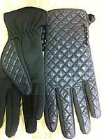 Серые перчатки из  стёганной плащёвки и неопрена