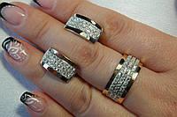 Серебряное кольцо и серьги с золотом и  фианитами