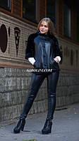 Красивая куртка кожаная с мехом норки, рукав 3/4 , 42,44 размеры в наличии