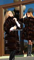 Шубка из бобра стриженного + норка, цвет бренди , воротник стойка, 46,48 размеры в наличии