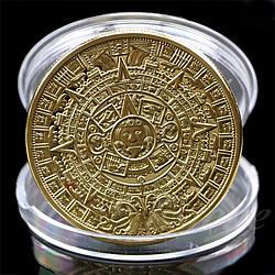 """Сувенірна монета календар МАЙЯ пророцтво Ацтеків, """"Календар Ацтеків"""" або """"Камінь сонця"""""""