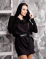 Платье-туника с аппликацией из камней с широким поясом №138