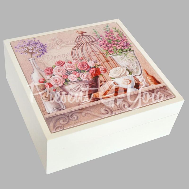 Шкатулка для бижутерии «Розы» , 16,5х16,5х6,5 см .
