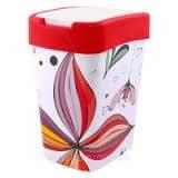 "Ведро для мусора ""Евро"" ТМ Алеана 10л. с декором (Цветы, красное)"