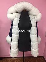 Парка с мехом вуалевого финского песца, утеплитель испанский стриженный кролик, верх джинс, фото 1