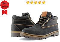 Ботинки мужские зимние Konors, черный нубук. Тракторная подошва