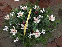 Новогодняя корзина с живыми цветами , фото 1