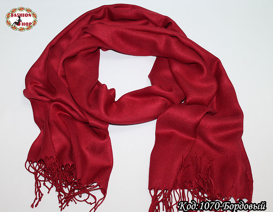 Жаккардовый бордовый шарф, фото 2