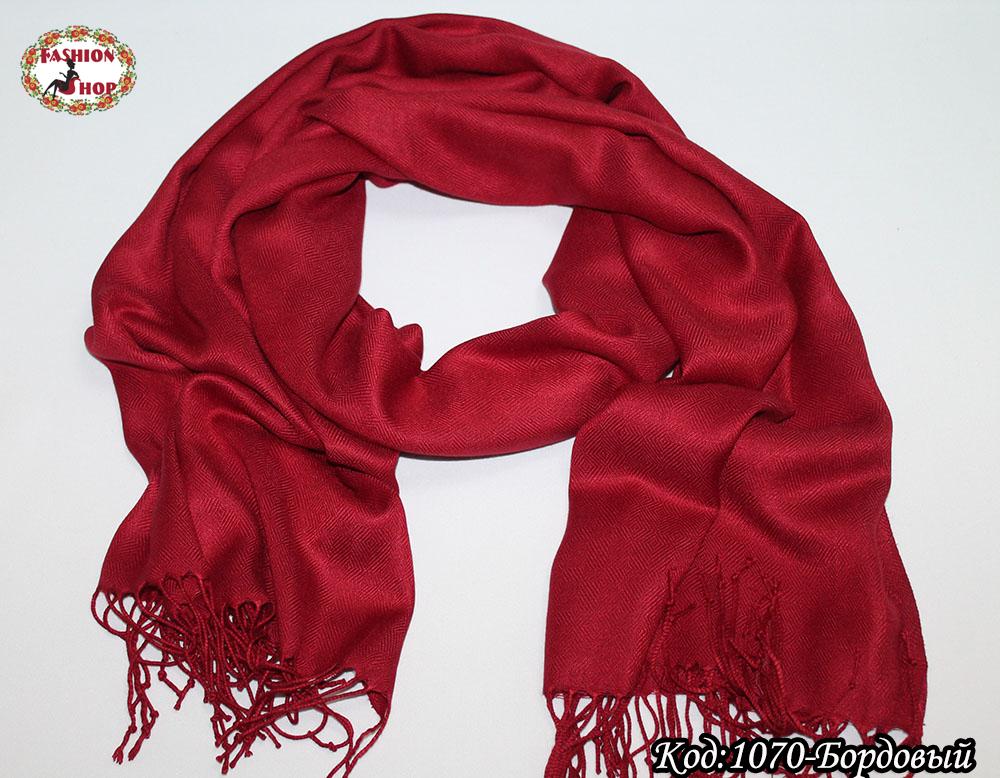 Жаккардовый бордовый шарф