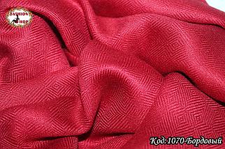 Жаккардовый бордовый шарф, фото 3