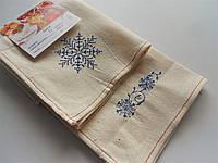 Набор льняных полотенец со снежинками