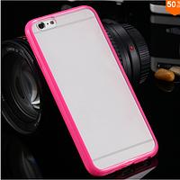Чехол бампер с цветным ободком и прозрачной матовой крышкой для Iphone 6/6s розовый