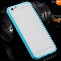 Чехол бампер с цветным ободком и прозрачной матовой крышкой для Iphone 6/6s берюзовый