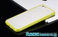Чехол бампер с цветным ободком и прозрачной матовой крышкой для Iphone 6/6s зеленый