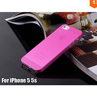 Чехол накладка ультратонкий пластик для Iphone 5/5s розовый
