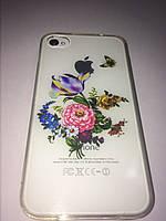 Чехол ультратонкий силикон прозрачный с рисунком цветы для Iphone 4/4s
