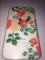 Чехол ультратонкий силикон прозрачный с рисунком для Iphone 4/4s