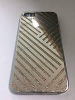 Чехол силикон блестки/plastik для iPhone 6 silver