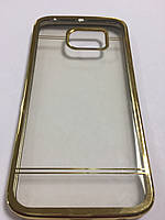 Чехол силиконовый с ободком и стразами по пириметру для Samsung S6 Edge золото