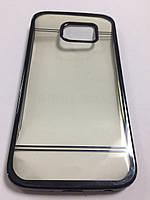 Чехол силиконовый с ободком и стразами по пириметру для Samsung S6 Edge серый