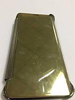 Чехол книжка с сенсорной крышкой и клавишами для Samsung S6 Edge Plus золото