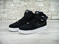 Кроссовки Nike Air Force High black замша (аир форсы)