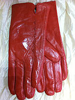 Женские кожаные коралловые  перчатки