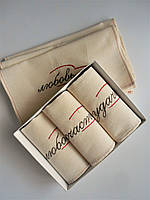 Вышитые льняные полотенца для кухни и сауны с пожеланиями.Набор 3 предмета