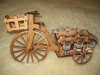 Підставка під вино сувенірний набір чарок  Велосипед