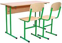 Стіл учнівський 2-місний без полиці + 2 стільці Т-подібних №6 20171+2х90228