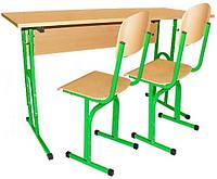 Стіл учнівський 2-місний без полиці + 2 стільці з регулюванням по висоті 90176 + 2х90292
