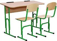 Стіл учнівський 2-місний без полиці + 2 стільці з регулюванням по висоті 20174+2х90292
