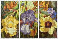 Схема для вышивки бисером Триптих.Цветы КМР 3044