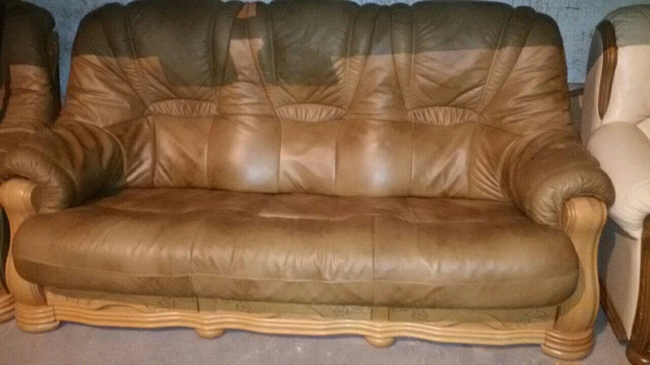 Комплект мягкой кожаной мебели Гризли, 3+1+1. Диван тройка и два кресла.  -  Torba Super в Харькове