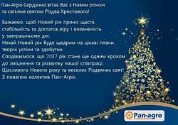 Пан-Агро Сердечно вітає Вас з Новим роком та світлим святом Різдва Христового!