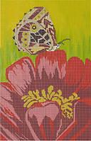 Картина для вышивки бисером размер А3 Бабочка на красном цветке КМР 3054
