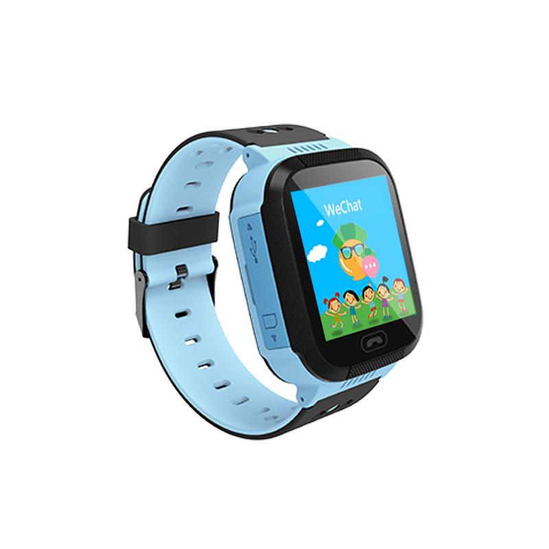 Детские умные часы телефон трекер Smart Baby Watch Q528 c сенсорным цветным экраном и фонариком (синие)