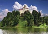 Фотообои, замок на горе, природа, лес, озеро,  ПРЕСТИЖ №30 272смХ196см