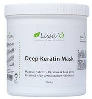 Deep Keratin Mask Lissa'o Paris - Кератиновая маска для волос с алоэ вера и маслом ши, 900 мл