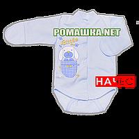 Детский боди с длинным закрытым рукавом р. 56 с начесом ткань ФУТЕР (байка) 100% хлопок ТМ Алекс 3188 Голубой2