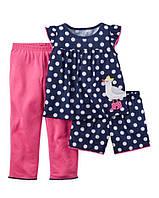 Детская пижама для девочки Carters 3в1 на 18 мес