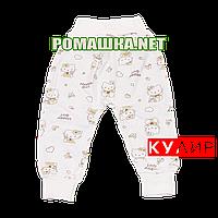 Штанишки на широкой резинке р. 68 ткань КУЛИР 100% тонкий хлопок ТМ Алекс 3327 Бежевый
